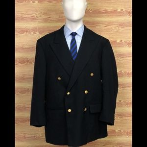 Brooks Brothers Black 45R Double Breasted Blazer